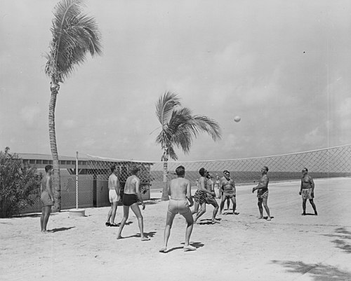 A beach volleyball game between members of President Harry S. Truman's vacation party at Key West, Florida in 1950 Photograph of a volleyball game between members of President Truman's vacation party at Key West, Florida. - NARA - 199042 (cropped).jpg