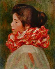 Femme à la collerette rouge