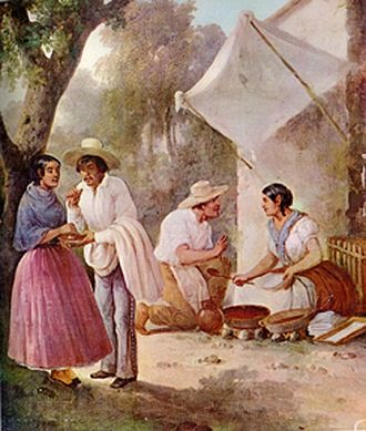 Cowboy hat - Painting (circa 1830) showing Mexican hats