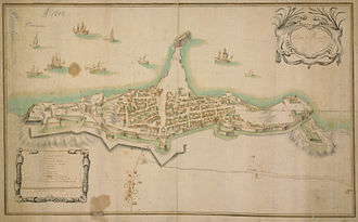 Piombino - Map of Piombino and its fortifications, 18th century.