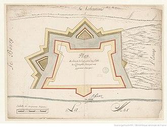 Charles de Courbon de Blénac - Plan du fort de la Basse terre de l'isle de St. Christophle signed by Blénac