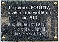 Plaque Foujita, 28 rue d'Odessa, Paris 14.jpg