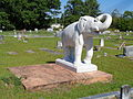 Pleasant Grove Primitive Baptist Church cemetery, elephant marker.JPG