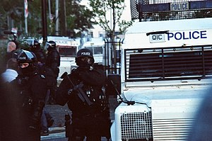 Belfast City Hall flag protests - Image: Police officers at the 2011 Belfast riots