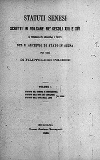 Polidori, Filippo Luigi – Statuti senesi scritti in volgare nei secoli 13. e 14., 1863 – BEIC 11414274.jpg