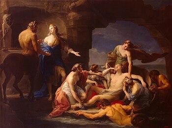 Teti richiama Achille dal Centauro Chirone, 1770, dipinto di Pompeo Batoni, San Pietroburgo, Ermitage.