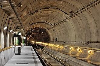 "Ballastless track - Ballastless track of the type ""Low Vibration Track"" in the Gotthard Base Tunnel's Sedrun multifunction station."