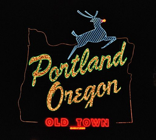 Portland Oregon - White Stag sign