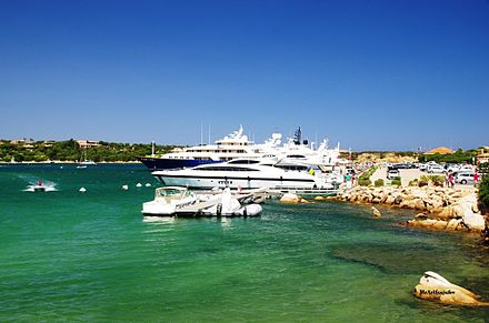Yachts in Porto Cervo. Luxury tourism represents an important source of income in Sardinia since the 1960s. Porto Cervo 2.JPG