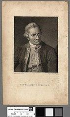 Printed portrait of Captain James Cook, F.R.S