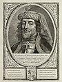 Portret van Willem III de Goede, graaf van Holland en Henegouwen. Hij draagt een met veren en parels verfraaide hoofddeksel. De omlijsting is versierd met het wapen van Holland. NL-HlmNHA 1477 53012915.JPG