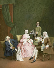 Portrait d'une famille vénitienne se faisant servir le café