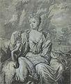 Portret van een vrouw met een zwaan en een papegaai in een tuin.jpeg