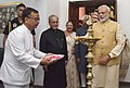 Pranab Mukherjee, the Vice President, Shri M. Hamid Ansari, the Prime Minister, Shri Narendra Modi and the Speaker, Lok Sabha, Smt. Sumitra Mahajan lighting the lamp at the new Rashtrapati Bhavan Museum, in New Delhi.jpg