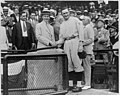 President Coolidge shaking hands with Walter Johnson at Griffith Stadium LCCN96522735.jpg