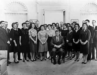 Presidency of John F. Kennedy - President John F. Kennedy (seated) with members of his White House staff