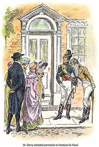 George Wickham - Mr Denny asks for permission to introduce his friend, Mr Wickham. (C. E. Brock, 1895.)