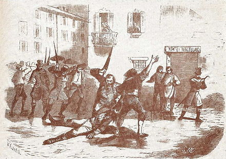 The murder of finance minister Prina in Milan marked the effective end of the kingdom. Prina lynched.jpg