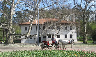 Residence of Prince Miloš - Old platanus in front of the Prince Miloš's Residence in Belgrade, Serbia.