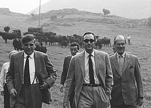 Prince William of Gloucester - Prince William of Gloucester (centre, wearing sunglasses) visiting a cattle farm in Wales a year before his death