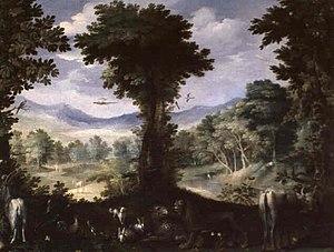Carlo Antonio Procaccini - Carlo Antonio Procaccini, Garden of Eden, oil on panel, 34 x 46 cm, 16th century