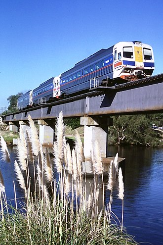 Transwa Prospector - WAGR WCA/WCE class railcars crossing the Swan River at Guildford in April 1986