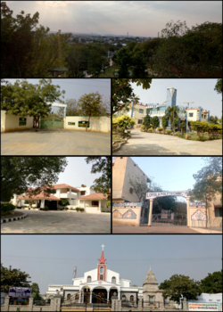Montage of Pulivendula (clockwise from top to bottom): Town view from a park, Municipal office Entrance, Loyola Polytechnic college Building, CSI Town church, R&B Guest House, Govindaraja Textiles Entrance