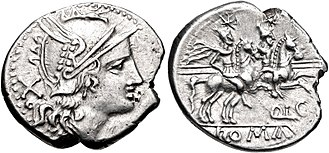 Lutatia (gens) - Denarius of Quintus Lutatius, 206–200 BC. The obverse depicts Roma; on the reverse are the Dioscuri.