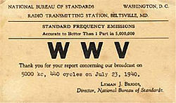 QSL verification postcard for time station WWV when it was located in Maryland