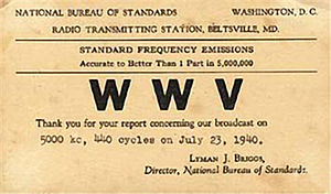 Call sign - A 1940 QSL card for WWV, indicating its early location in the U.S. state of Maryland.