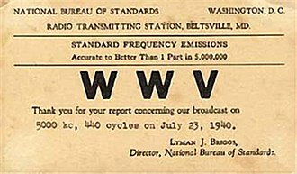 Call sign - A 1940 QSL card for WWV, indicating its early location in the U.S. state of Maryland