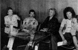 v.l.n.r. John Deacon, Freddie Mercury, Roger Taylor und Brian May (1981)