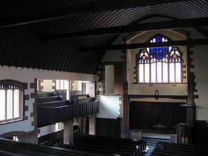 Queen's Cross Church, Glasgow - The west window and balcony over the south aisle, seen from the main balcony.