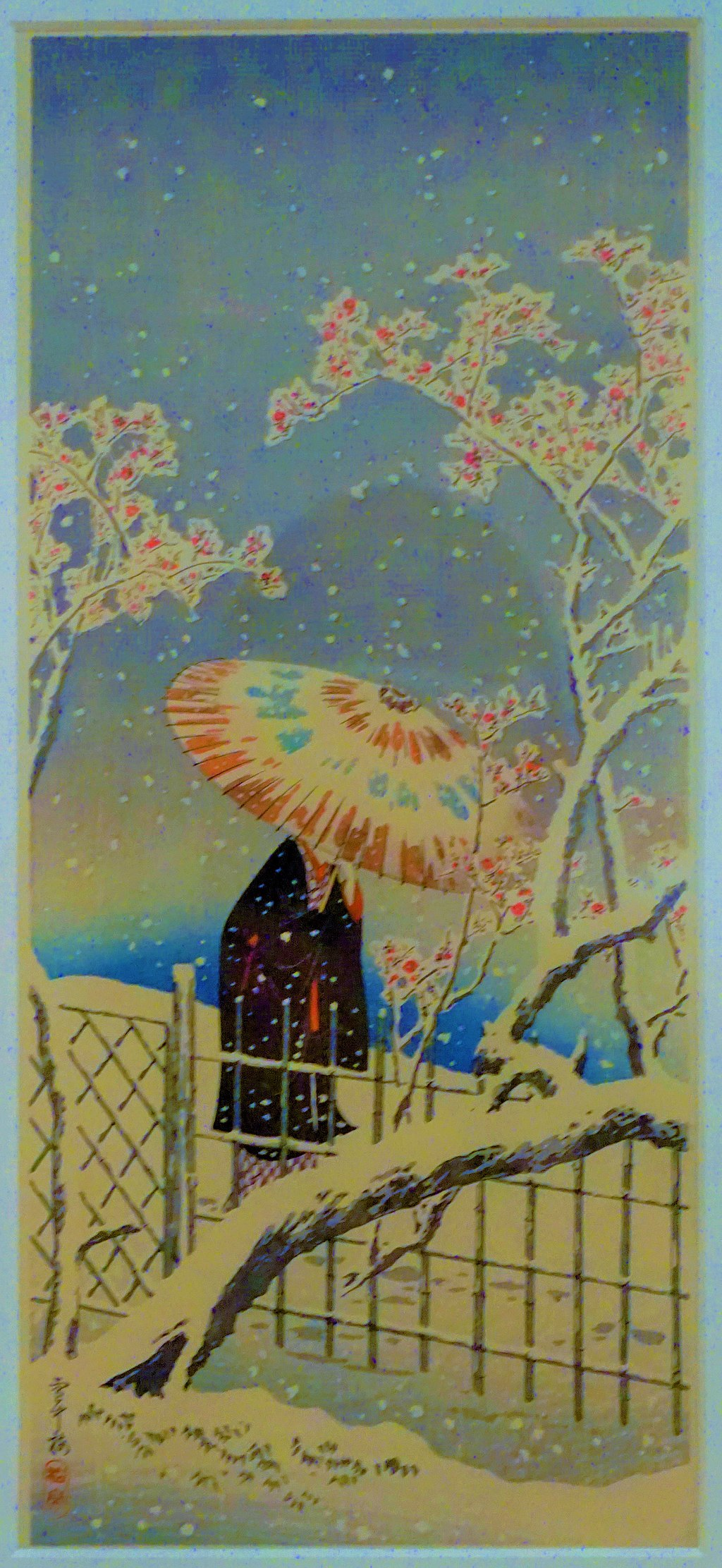 """""""Figure with Parasol, Protect against Snow"""" by Takahashi Hiroaki"""