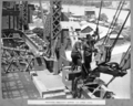 Queensland State Archives 4024 Preparing temporary support for lower chord Brisbane 25 October 1939.png