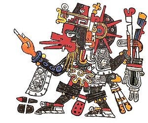 Ehecatl - Depiction of Ehecatl-Quetzalcoatl (Quetzalcoatl combined with the attributes of Ehecatl), from the Codex Borgia