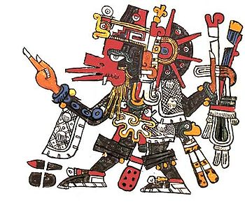 Quetzalcoatl in human form, using the symbols of Ehecatl, from the Codex Borgia.