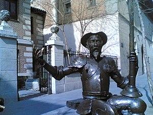 Homenaje al IV Centenario de El Quijote, frente a la casa natal de Miguel de Cervantes en Alcalá de Henares.