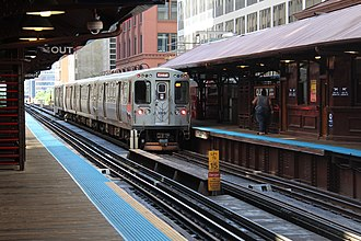 Quincy station (CTA) - Kimball-bound Brown Line train leaving Quincy in July 2018