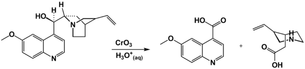 Oxidation of quinine by chromic acid to quininic acid and meroquinene