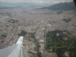 Old Mariscal Sucre International Airport - Old Airport location within the city, spotted from a KLM MD-11 on approach to the new Quito International Airport