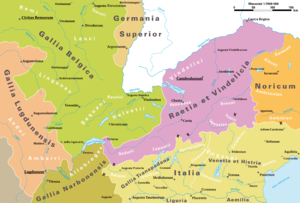Lepontii - Map of the Alpine provinces as of AD 14, showing the position of the Lepontii within Rhaetia and north of Gallia Transpadana