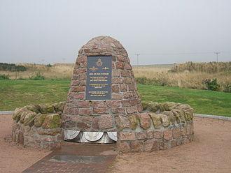 Longside - RAF Cairn in memory of WW2 squadron, Longside Airfield