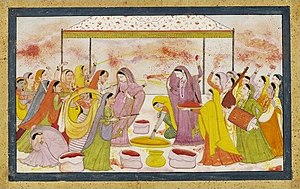 Radha celebrating Holi, c1788. (digitally enha...