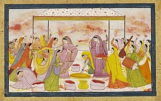 Holi - Radha and the Gopis celebrating Holi, with accompaniment of music instruments