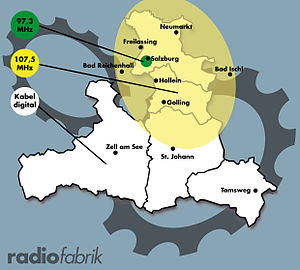 Radiofabrik - Radiofabrik - Broadcast area (2014)