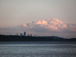 Edmonds–Kingston ferry - Mount Rainier and Downtown Seattle from the ferry.