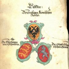 Rauchbeinchronik Wappen des Heiligen Römischen Reichs, der Herzoge von Schwaben und der Stadt Schwäbisch Gmünd.png
