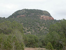 A large mound of rock and dirt with reddish and grayish soil and mostly covered with vegetation.