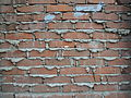 Red brick wall with rude cement (Moscow).JPG